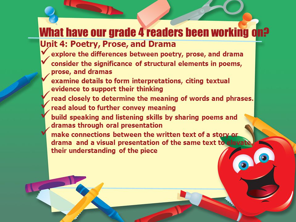 What have our grade 4 readers been working on.