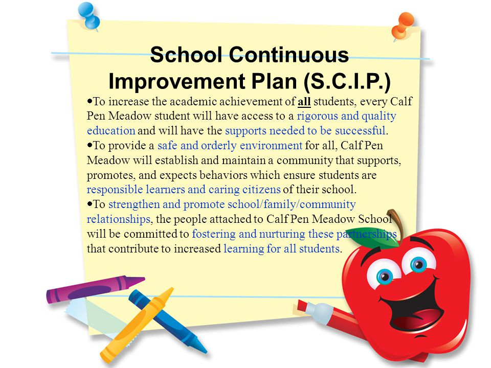 School Continuous Improvement Plan (S.C.I.P.)  To increase the academic achievement of all students, every Calf Pen Meadow student will have access to a rigorous and quality education and will have the supports needed to be successful.