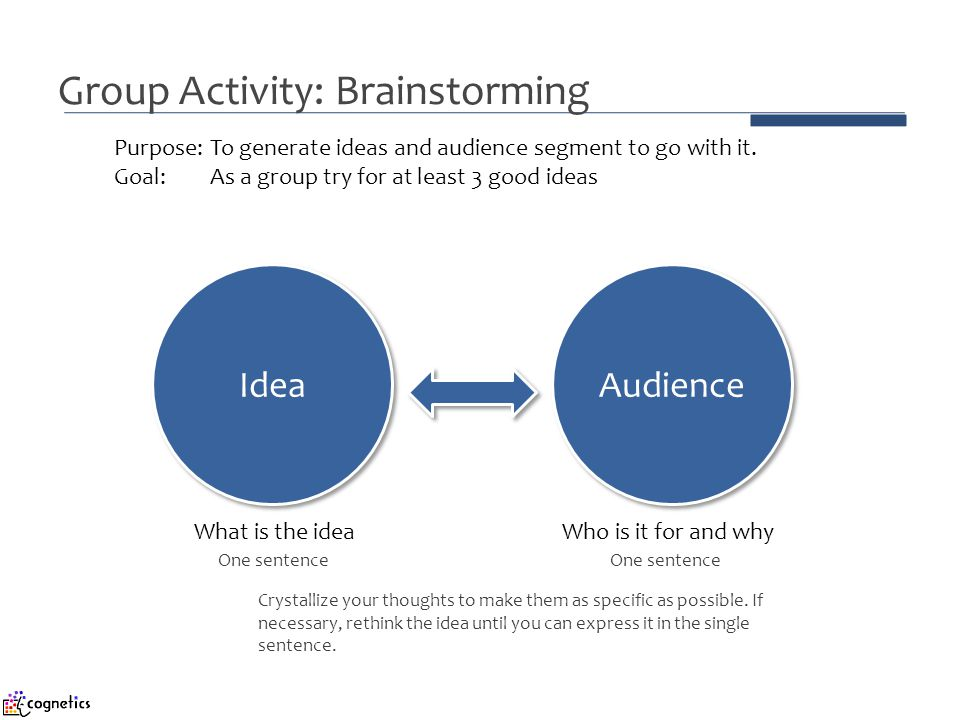Group Activity: Brainstorming Idea Audience Purpose: To generate ideas and audience segment to go with it. Goal: As a group try for at least 3 good id