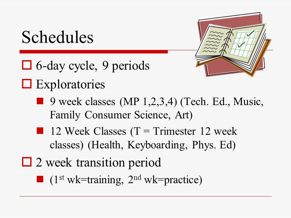 Schedules  6-day cycle, 9 periods  Exploratories 9 week classes (MP 1,2,3,4) (Tech.
