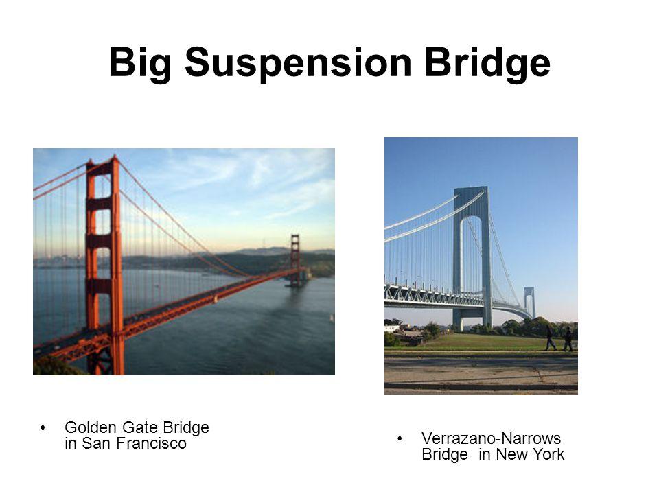 Big Suspension Bridge Golden Gate Bridge in San Francisco Verrazano-Narrows Bridge in New York
