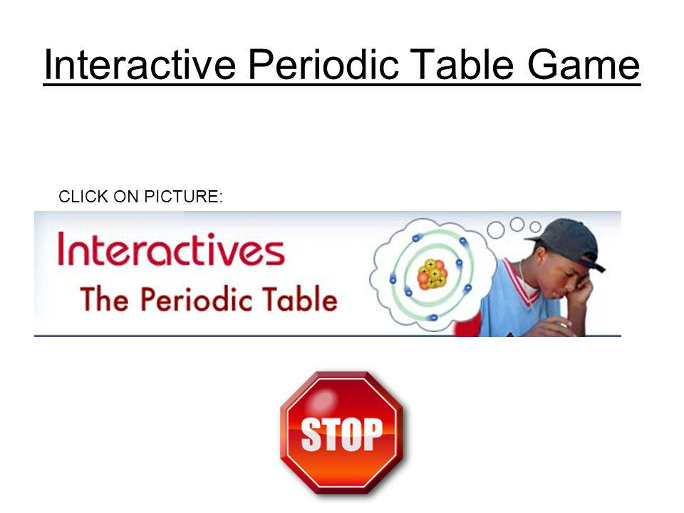 Interactive Periodic Table Game CLICK ON PICTURE: