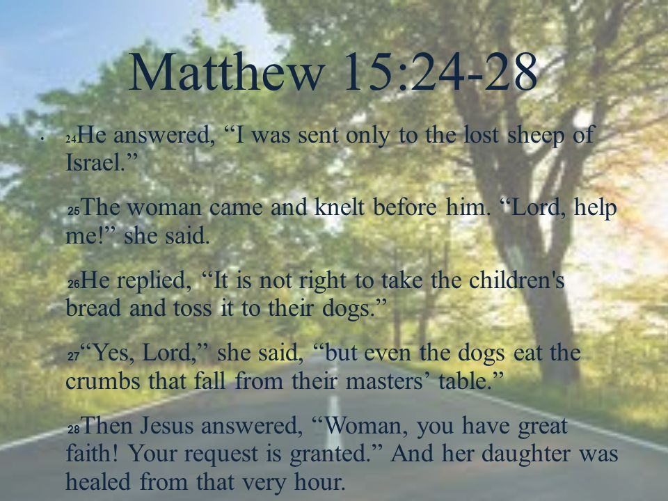 "Matthew 15:24-28 24 He answered, ""I was sent only to the lost sheep of Israel."" 25 The woman came and knelt before him. ""Lord, help me!"" she said. 26"