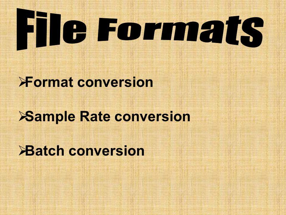  Format conversion  Sample Rate conversion  Batch conversion