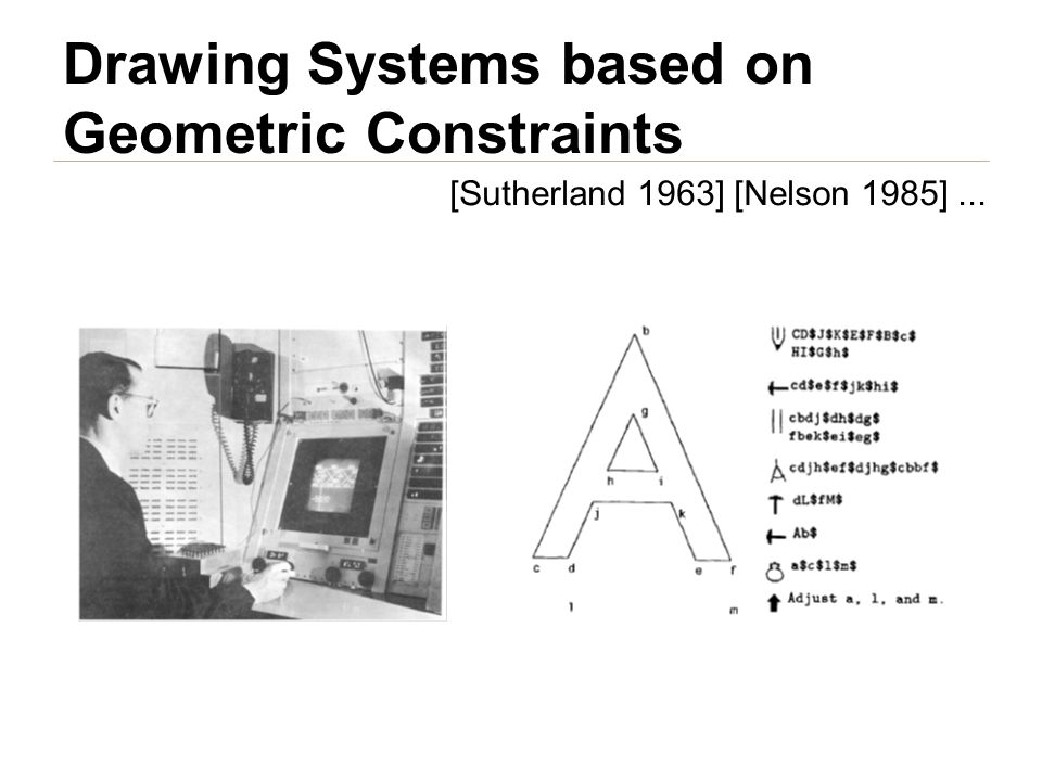 Drawing Systems based on Geometric Constraints [Sutherland 1963] [Nelson 1985]...