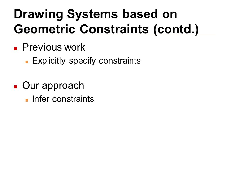 Drawing Systems based on Geometric Constraints (contd.) Previous work Explicitly specify constraints Our approach Infer constraints