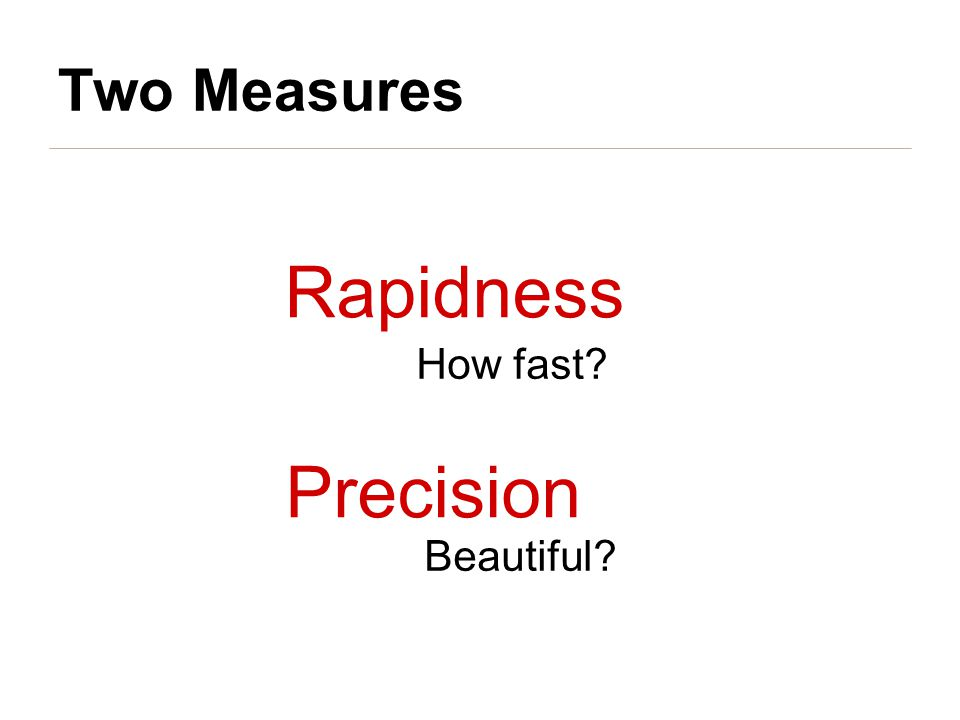Rapidness How fast Precision Beautiful Two Measures