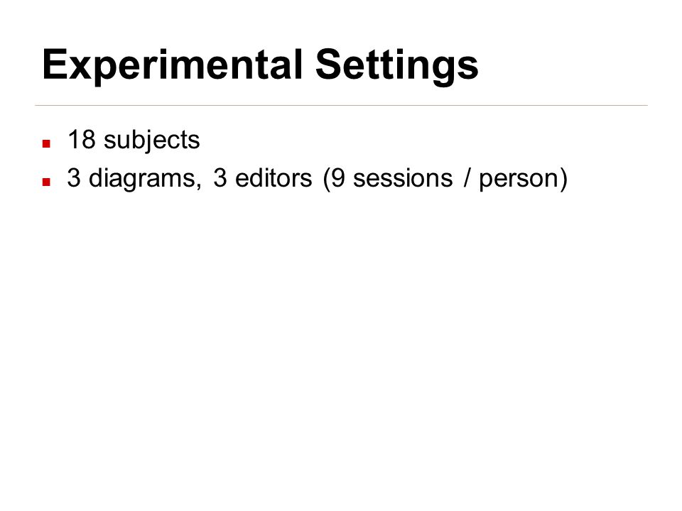 Experimental Settings 18 subjects 3 diagrams, 3 editors (9 sessions / person)