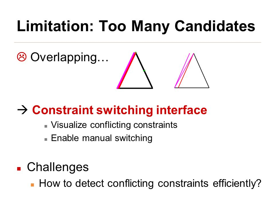 Limitation: Too Many Candidates  Overlapping…  Constraint switching interface Visualize conflicting constraints Enable manual switching Challenges How to detect conflicting constraints efficiently