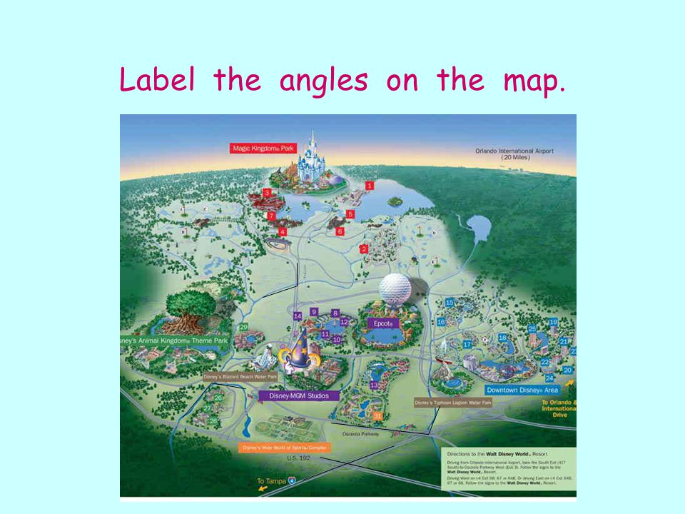 Label the angles on the map.