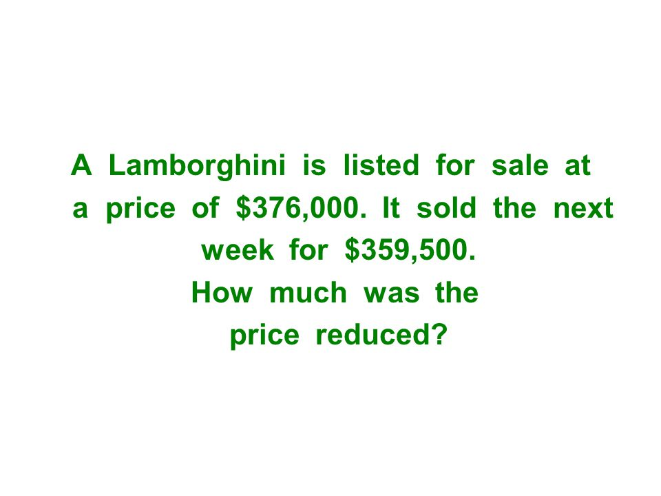 A Lamborghini is listed for sale at a price of $376,000.