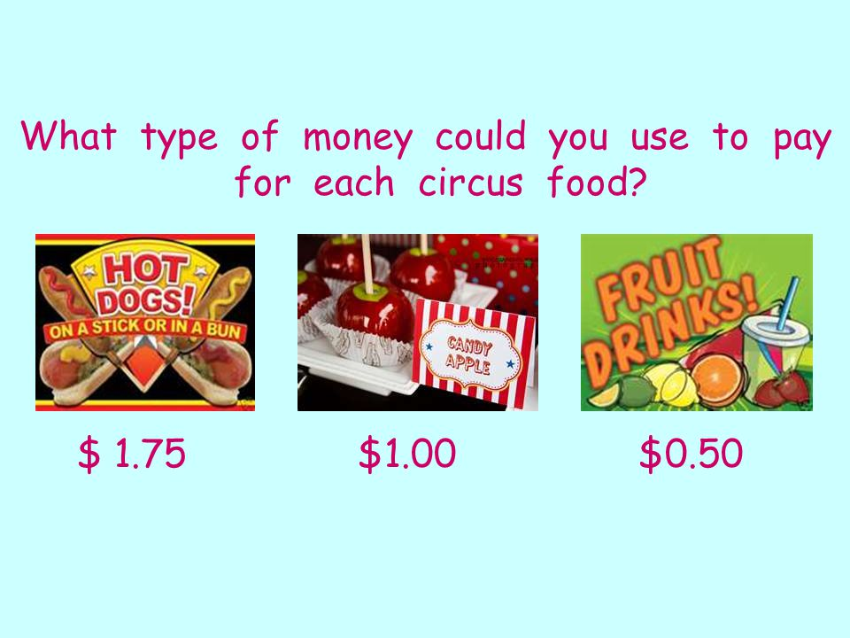 What type of money could you use to pay for each circus food $ 1.75 $1.00 $0.50