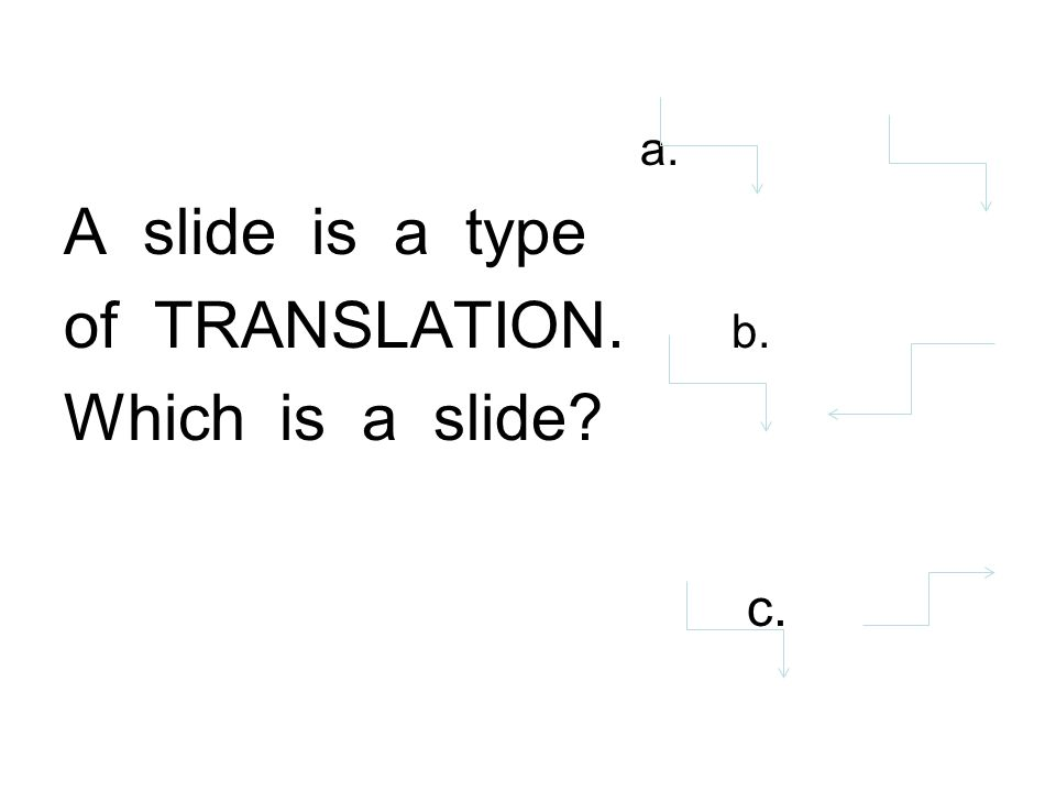 a. A slide is a type of TRANSLATION. b. Which is a slide c.