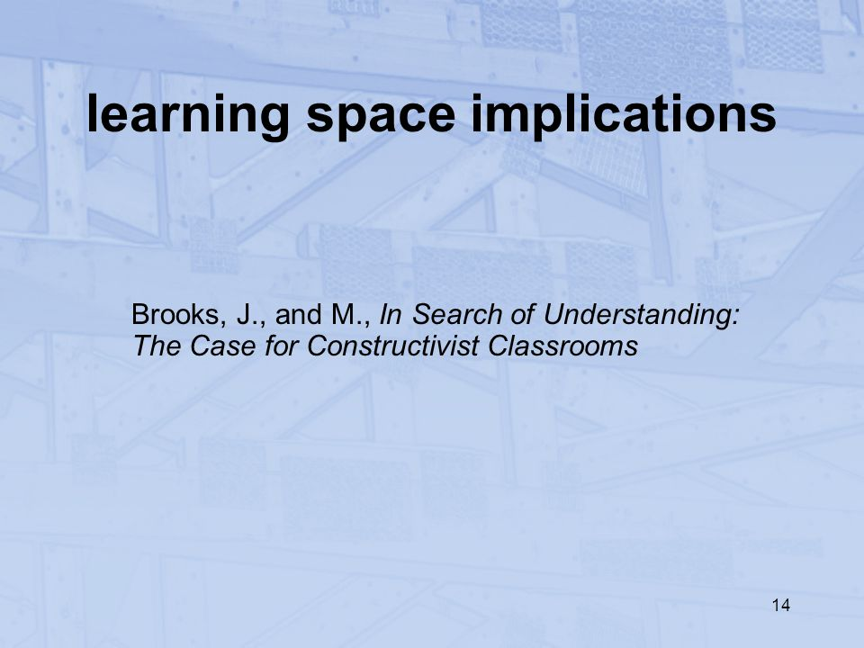 14 learning space implications Brooks, J., and M., In Search of Understanding: The Case for Constructivist Classrooms