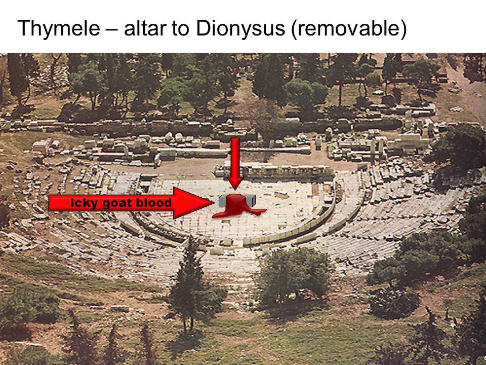 Thymele – altar to Dionysus (removable) icky goat blood