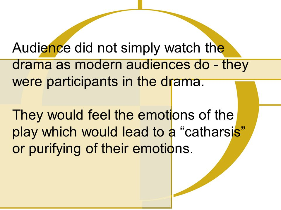 Audience did not simply watch the drama as modern audiences do - they were participants in the drama. They would feel the emotions of the play which w