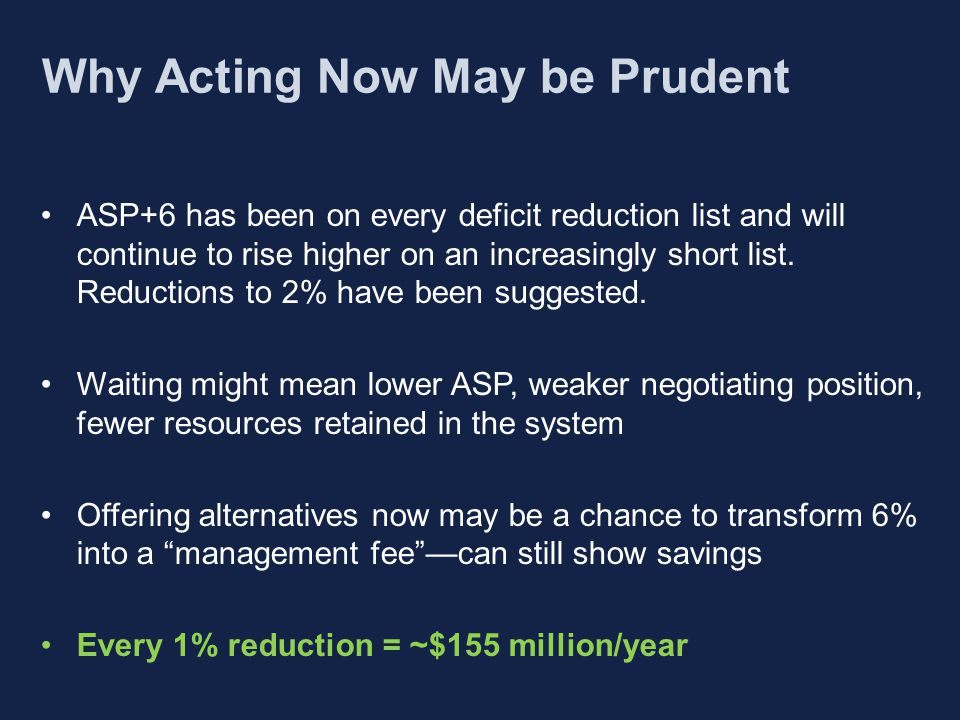 Why Acting Now May be Prudent ASP+6 has been on every deficit reduction list and will continue to rise higher on an increasingly short list.