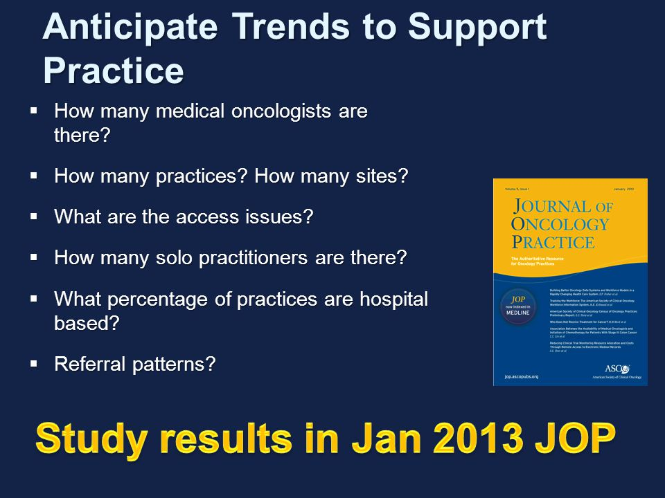 Anticipate Trends to Support Practice  How many medical oncologists are there.