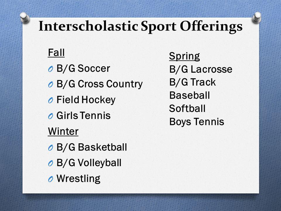 Interscholastic Sport Offerings Fall O B/G Soccer O B/G Cross Country O Field Hockey O Girls Tennis Winter O B/G Basketball O B/G Volleyball O Wrestli