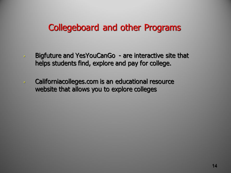 Collegeboard and other Programs Bigfuture and YesYouCanGo - are interactive site that helps students find, explore and pay for college.