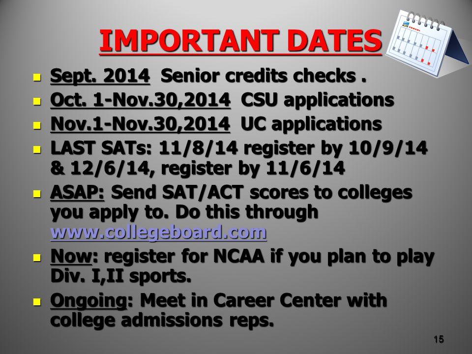 IMPORTANT DATES Sept. 2014 Senior credits checks.