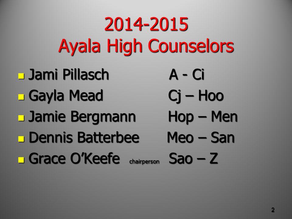 Tonight's agenda What does it take to get an Ayala diploma.