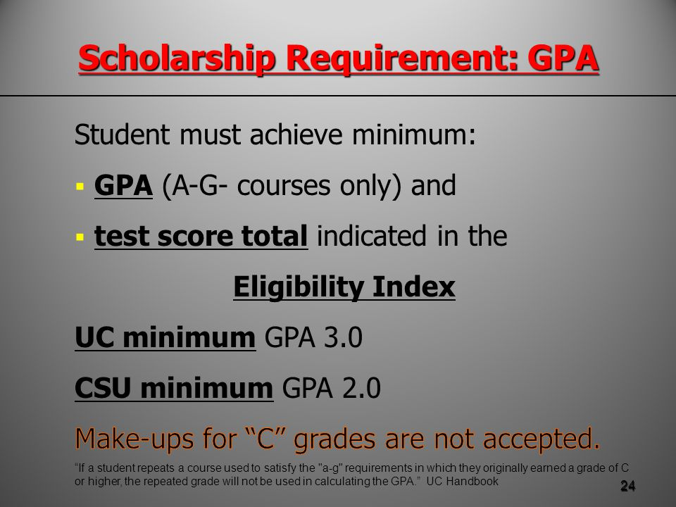 Scholarship Requirement: GPA 24