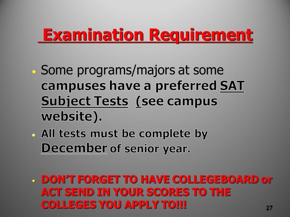 Examination Requirement Examination Requirement 27