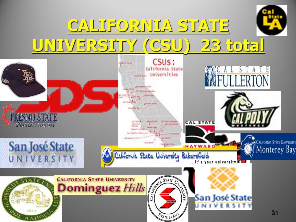 CALIFORNIA STATE UNIVERSITY (CSU) 23 total 31