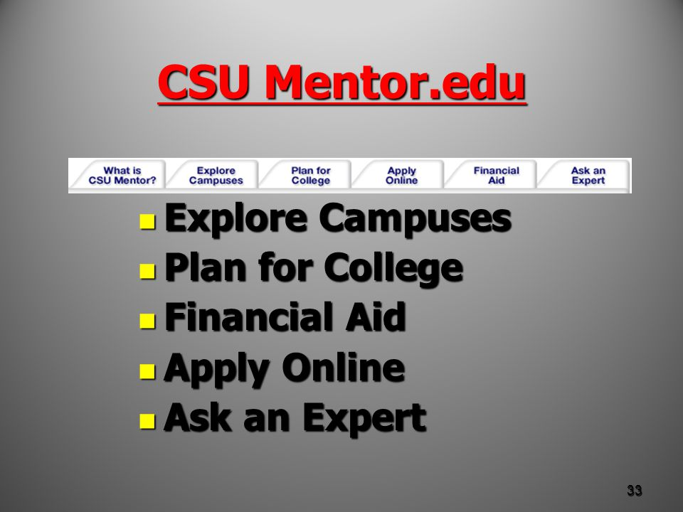 CSU Mentor.edu Explore Campuses Explore Campuses Plan for College Plan for College Financial Aid Financial Aid Apply Online Apply Online Ask an Expert Ask an Expert 33