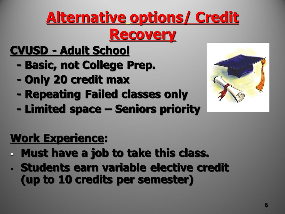 CREDIT RECOVERY CVUSD VIRTUAL PROGRAM CVUSD VIRTUAL PROGRAM a limited number of online classes a limited number of online classes offered through the CVUSD District to make up credits.