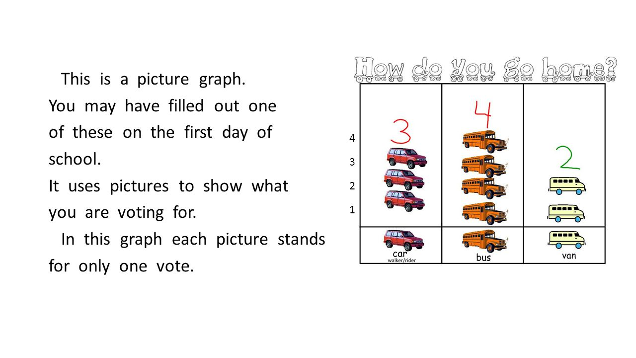 Every picture graph must have a title, the categories being voted about, a key, and the data or number of votes each category received.