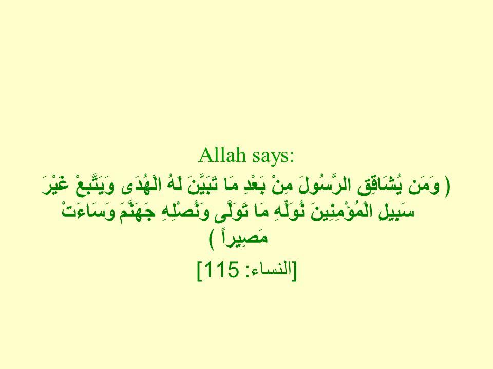 Allah says: ﴿ وَمَن يُشَاقِقِ الرَّسُولَ مِنْ بَعْدِ مَا تَبَيَّنَ لَهُ الْهُدَى وَيَتَّبِعْ غَيْرَ سَبِيلِ الْمُؤْمِنِينَ نُوَلِّهِ مَا تَوَلَّى وَنُصْلِهِ جَهَنَّمَ وَسَاءَتْ مَصِيراً ﴾ [ النساء : 115]