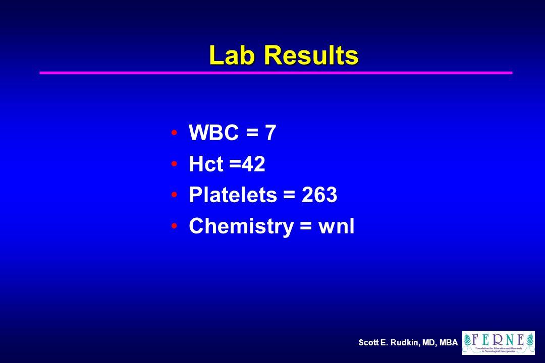 Scott E. Rudkin, MD, MBA Lab Results WBC = 7 Hct =42 Platelets = 263 Chemistry = wnl