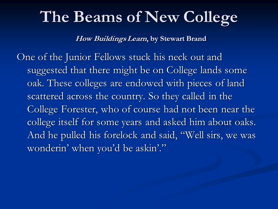 The Beams of New College How Buildings Learn, by Stewart Brand One of the Junior Fellows stuck his neck out and suggested that there might be on College lands some oak.