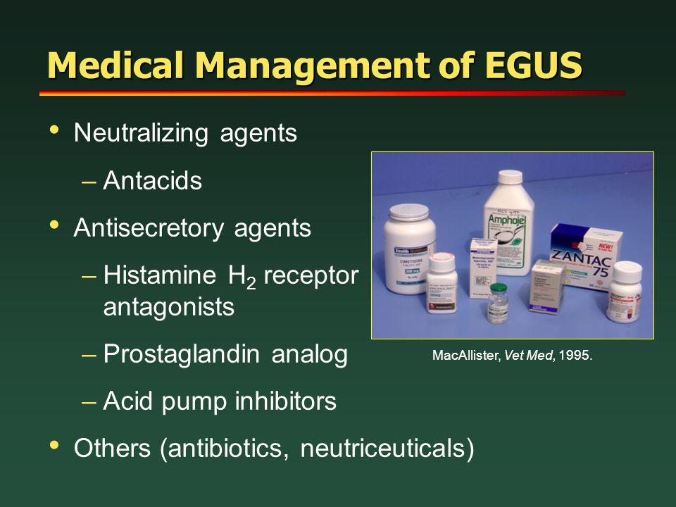 Medical Management of EGUS Neutralizing agents –Antacids Antisecretory agents –Histamine H 2 receptor antagonists –Prostaglandin analog –Acid pump inh