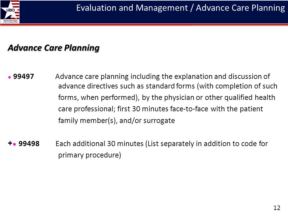 Evaluation and Management / Advance Care Planning Advance Care Planning ● 99497 Advance care planning including the explanation and discussion of adva