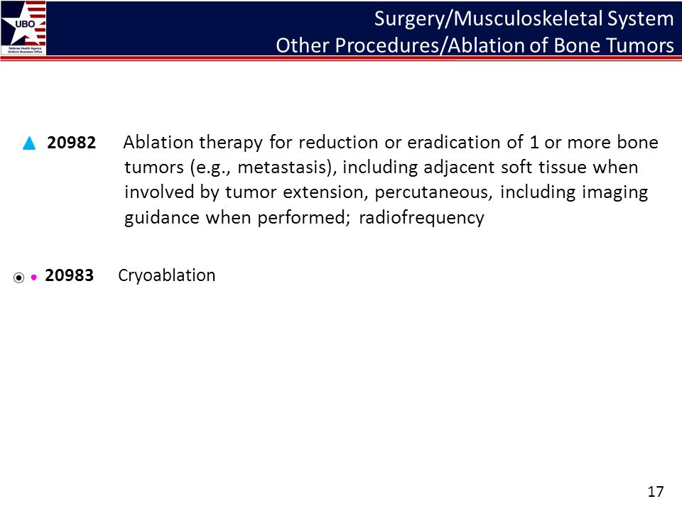 Surgery/Musculoskeletal System Other Procedures/Ablation of Bone Tumors 20982 Ablation therapy for reduction or eradication of 1 or more bone tumors (