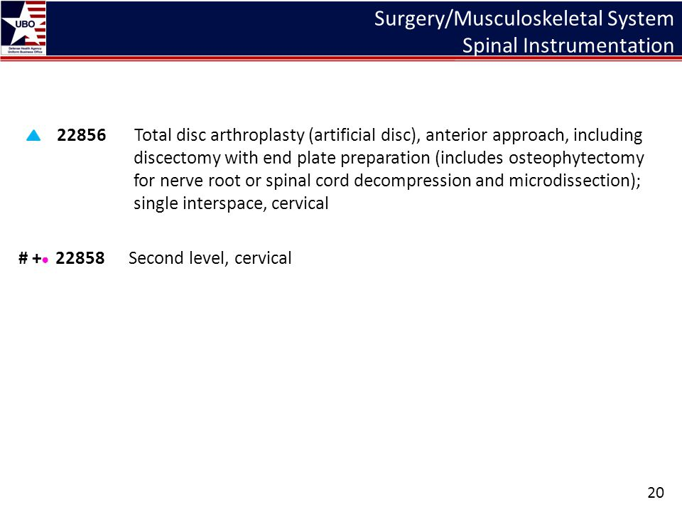 Surgery/Musculoskeletal System Spinal Instrumentation 22856 Total disc arthroplasty (artificial disc), anterior approach, including discectomy with en
