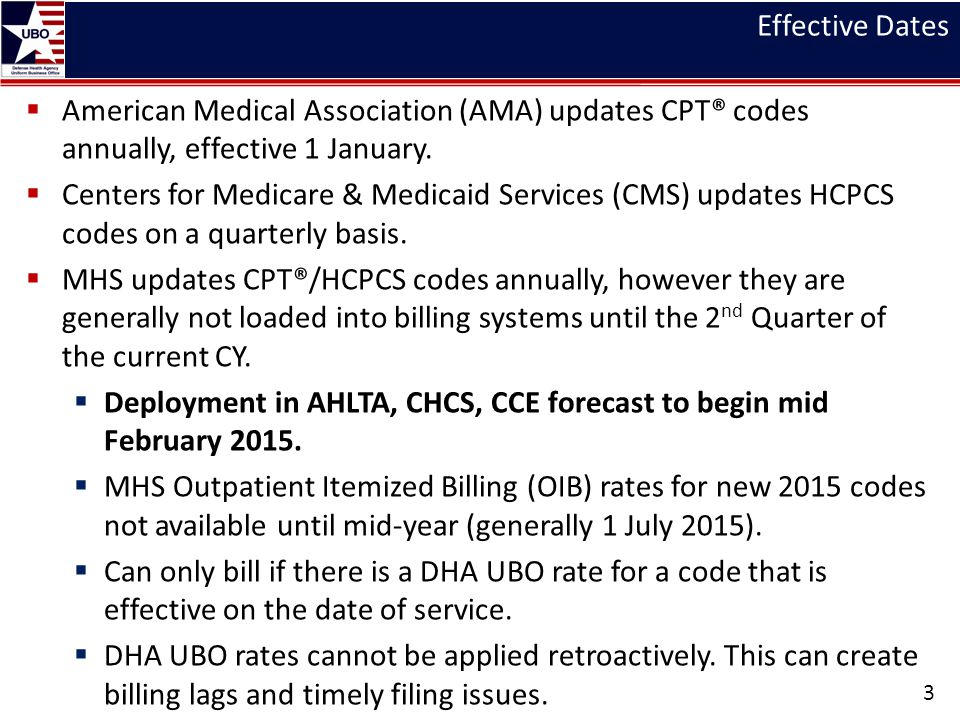 Effective Dates  American Medical Association (AMA) updates CPT® codes annually, effective 1 January.  Centers for Medicare & Medicaid Services (CMS