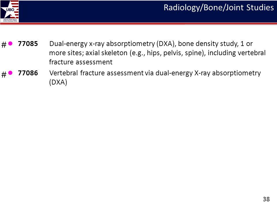 Radiology/Bone/Joint Studies ● 77085 Dual-energy x-ray absorptiometry (DXA), bone density study, 1 or more sites; axial skeleton (e.g., hips, pelvis,