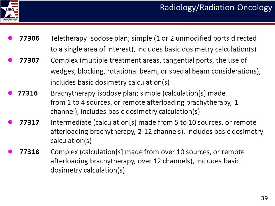 Radiology/Radiation Oncology ● 77306 Teletherapy isodose plan; simple (1 or 2 unmodified ports directed to a single area of interest), includes basic