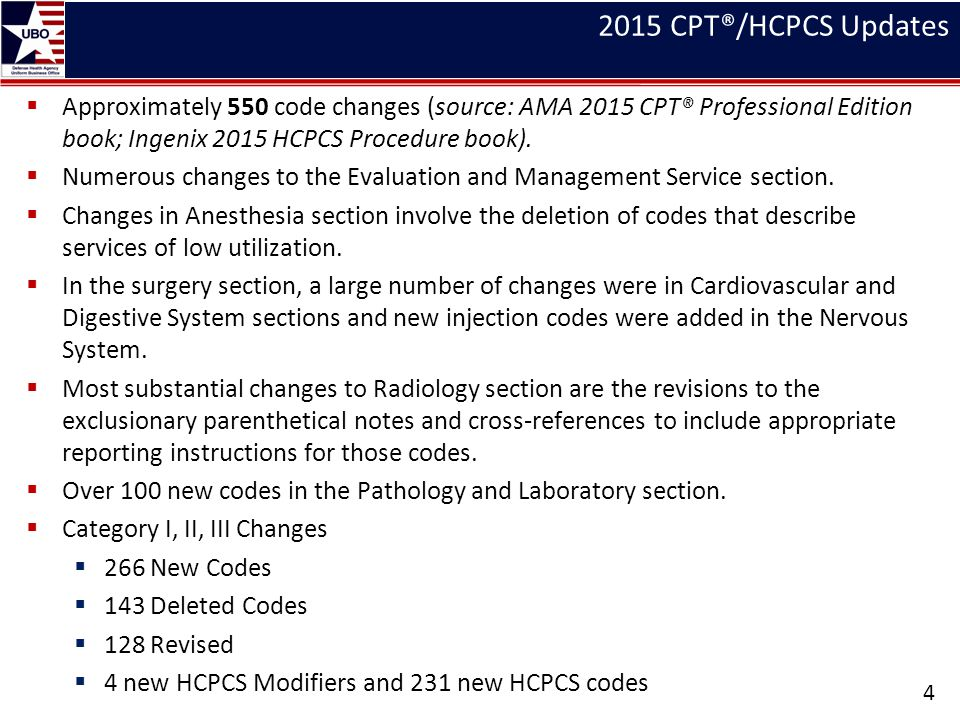 2015 CPT®/HCPCS Updates  Approximately 550 code changes (source: AMA 2015 CPT® Professional Edition book; Ingenix 2015 HCPCS Procedure book).  Numer