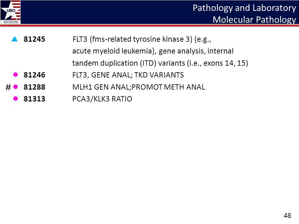 Pathology and Laboratory Molecular Pathology 81245 FLT3 (fms-related tyrosine kinase 3) (e.g., acute myeloid leukemia), gene analysis, internal tandem