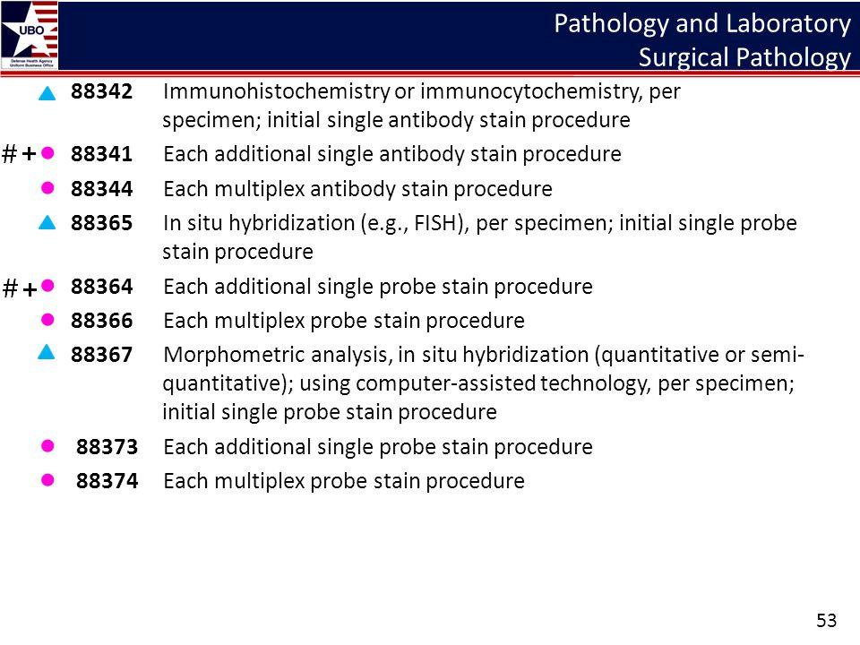 Pathology and Laboratory Surgical Pathology 88342 Immunohistochemistry or immunocytochemistry, per specimen; initial single antibody stain procedure ●