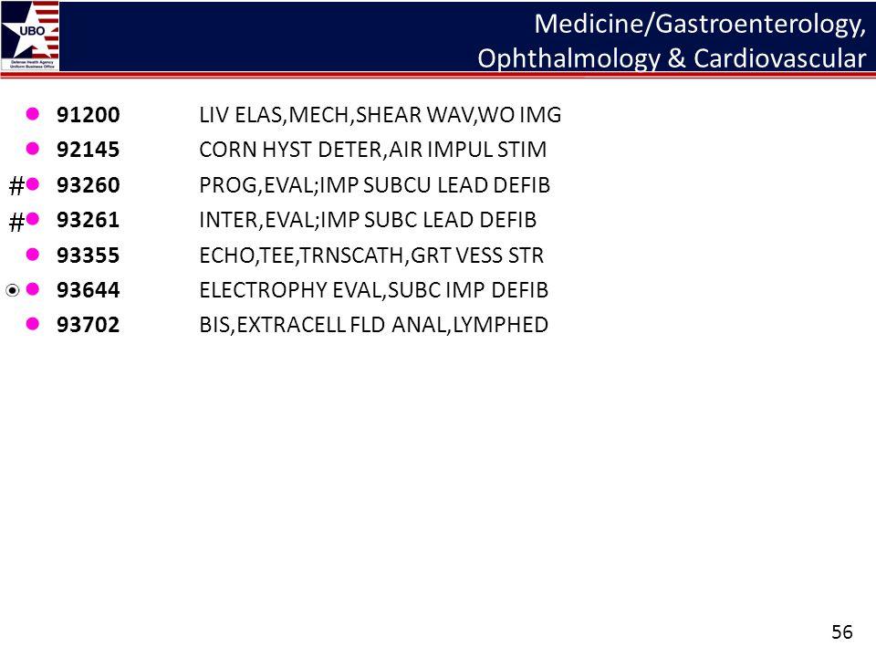 Medicine/Gastroenterology, Ophthalmology & Cardiovascular ● 91200LIV ELAS,MECH,SHEAR WAV,WO IMG ● 92145CORN HYST DETER,AIR IMPUL STIM ● 93260PROG,EVAL