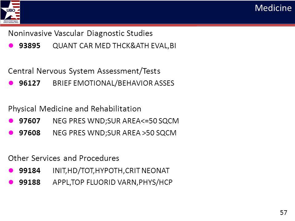Medicine Noninvasive Vascular Diagnostic Studies ● 93895 QUANT CAR MED THCK&ATH EVAL,BI Central Nervous System Assessment/Tests ● 96127 BRIEF EMOTIONA