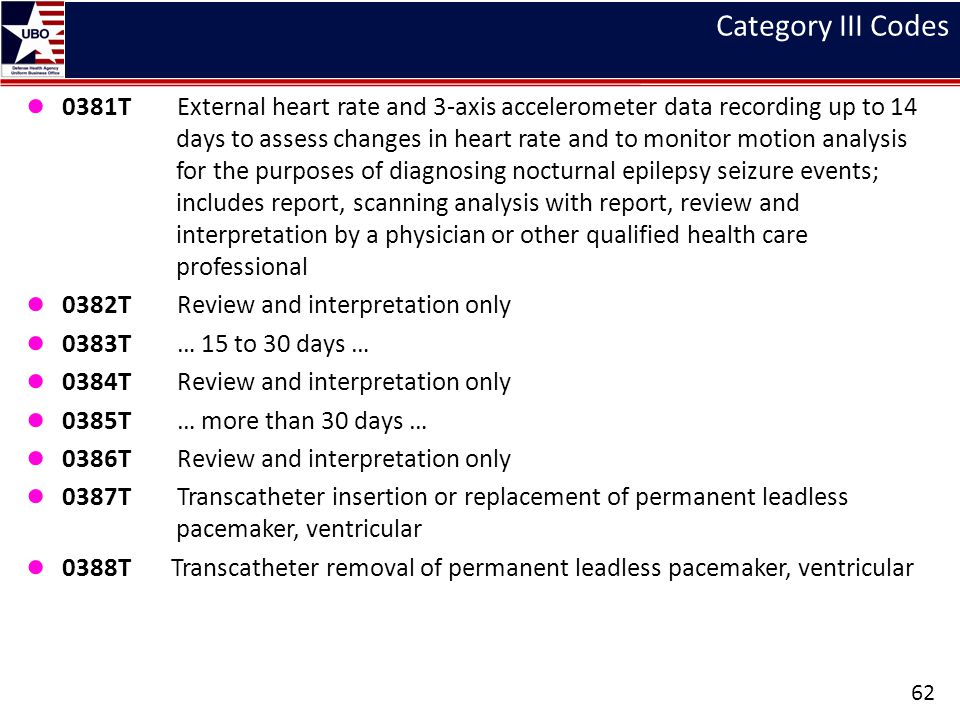 Category III Codes ● 0381T External heart rate and 3-axis accelerometer data recording up to 14 days to assess changes in heart rate and to monitor mo