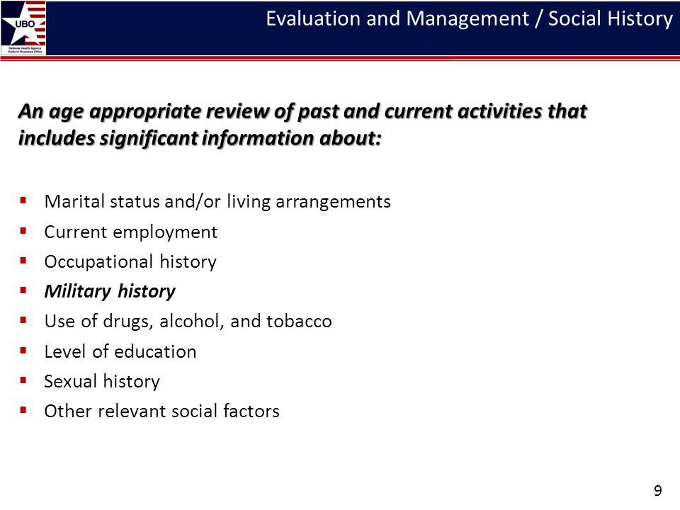 Evaluation and Management / Social History An age appropriate review of past and current activities that includes significant information about:  Mar