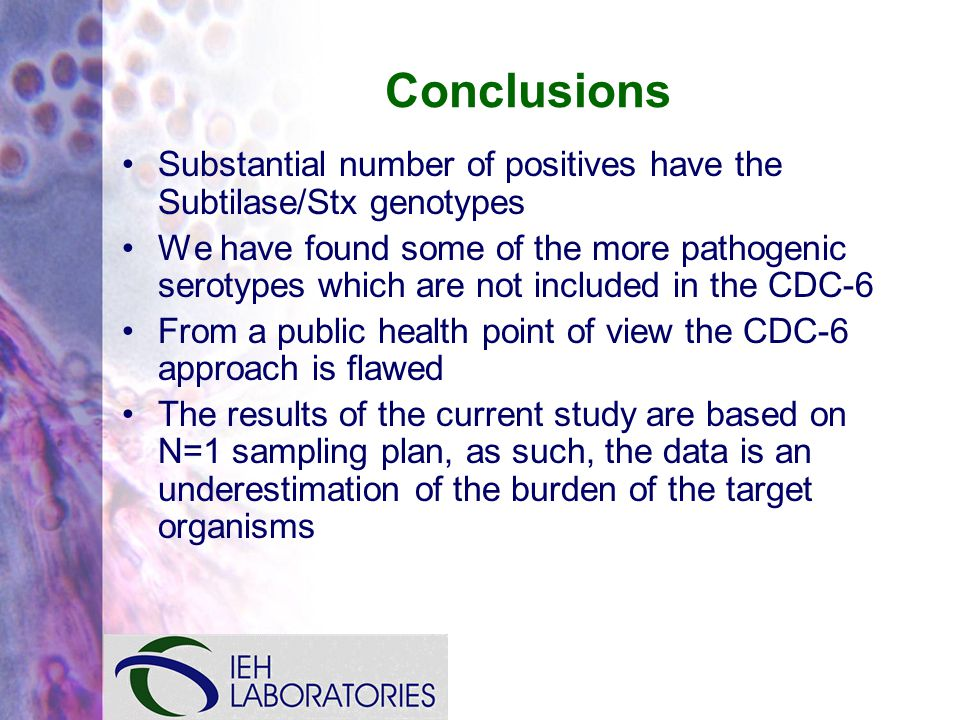 Conclusions Substantial number of positives have the Subtilase/Stx genotypes We have found some of the more pathogenic serotypes which are not included in the CDC-6 From a public health point of view the CDC-6 approach is flawed The results of the current study are based on N=1 sampling plan, as such, the data is an underestimation of the burden of the target organisms